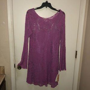 Gianni Bini long sleeves sheer purple dress!